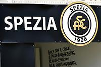 Spezia logo is seen during the Serie A football match between Spezia Calcio and Udinese Calcio at Alberto Picco stadium in La Spezia (Italy), September 12th, 2021. Photo Andrea Staccioli / Insidefoto