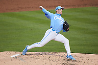 North Carolina Tar Heels relief pitcher Gage Gillian (15) in action against the South Carolina Gamecocks at Truist Field on April 6, 2021 in Charlotte, North Carolina. (Brian Westerholt/Four Seam Images)