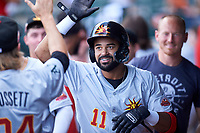 Mesa Solar Sox Derek Hill (11), of the Detroit Tigers organization, celebrates with teammates after hitting an inside-the-park home run during an Arizona Fall League game against the Yaquis de Obregon as part of the Mexican Baseball Fiesta on September 29, 2019 at Sloan Park in Mesa, Arizona. Mesa defeated Obregon 7-0. (Zachary Lucy/Four Seam Images)