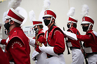 Arkansas band members walk out onto the field, Saturday, September 11, 2021 during a football game at Reynolds Razorback Stadium in Fayetteville. Check out nwaonline.com/210912Daily/ for today's photo gallery. <br /> (NWA Democrat-Gazette/Charlie Kaijo)