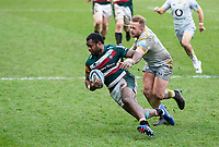 20th February 2021; Welford Road Stadium, Leicester, Midlands, England; Premiership Rugby, Leicester Tigers versus Wasps; Kini Murimurivalu of Leicester Tigers catches a loose ball and is tackled by Tom Cruse of Wasps