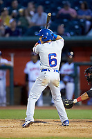 Jhonny Bethencourt (6) of the South Bend Cubs at bat against the Lansing Lugnuts at Cooley Law School Stadium on June 15, 2018 in Lansing, Michigan. The Lugnuts defeated the Cubs 6-4.  (Brian Westerholt/Four Seam Images)