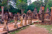 Cambodia, Banteay Srei.  Boundary Stones Lining the Causeway Leading to the Temple Entrance.