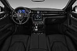 Stock photo of straight dashboard view of a 2017 Maserati Quattroporte S 4 Door Sedan