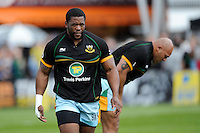 Brian Mujati of Northampton Saints warms up before the Aviva Premiership match between Harlequins and Northampton Saints at the Twickenham Stoop on Saturday 4th May 2013 (Photo by Rob Munro)
