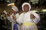 Brotherhood of the Cross and Star South London Ecstatic dance a female member of the congregation is In Spirit or Holy Spirit 1990s <br /> from A STORM IS PASSING OVER a Look at Black Churches in Britain. Published by Thames and Hudson isbn 0 500 27826 1