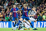 Ivan Rakitic (2nd r) of FC Barcelona fights for the ball with Juventus players during the UEFA Champions League 2017-18 match between FC Barcelona and Juventus at Camp Nou on 12 September 2017 in Barcelona, Spain. Photo by Vicens Gimenez / Power Sport Images