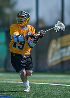 16 April 2016: University of Maryland, Baltimore County Retriever Midfielder Jack Andrews, a Freshman from Arnold, MD, in action against the University of Vermont Catamounts at Virtue Field in Burlington, Vermont. The Retrievers fell to the Catamounts 14-10 in NCAA Division I play. Mandatory Credit: Ed Wolfstein Photo *** RAW (NEF) Image File Available ***