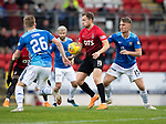 St Johnstone v Kilmarnock…24.11.18…   McDiarmid Park    SPFL<br />Greg Stewart is closed down by Jason Kerr and Liam Craig<br />Picture by Graeme Hart. <br />Copyright Perthshire Picture Agency<br />Tel: 01738 623350  Mobile: 07990 594431