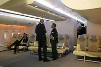 - model inside of cabin of the airliner Airbus A 380 rliner....- modello dell'interno cabina dell'aereo di linea Airbus A 380