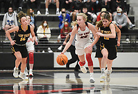 Pea Ridge forward Blakelee Winn (22) drives the ball, Friday, January 8, 2021 during a basketball game at Pea Ridge High School in Pea Ridge. Check out nwaonline.com/210108Daily/ for today's photo gallery. <br /> (NWA Democrat-Gazette/Charlie Kaijo)