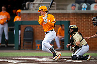 Tennessee Volunteers third baseman Jake Rucker (7) at bat against the Vanderbilt Commodores on Robert M. Lindsay Field at Lindsey Nelson Stadium on April 17, 2021, in Knoxville, Tennessee. (Danny Parker/Four Seam Images)