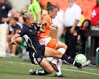 Rebecca Moros #19 of Washington Freedom slides into Julianne Sitch #38 of Sky Blue FC during a WPS match at RFK Stadium on May 23, 2009 in Washington D.C.