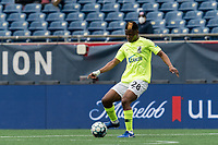 FOXBOROUGH, MA - MAY 12: Illal Osumanu #28 of Union Omaha passes the ball during a game between Union Omaha and New England Revolution II at Gillette Stadium on May 12, 2021 in Foxborough, Massachusetts.