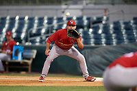 Palm Beach Cardinals first baseman Stefan Trosclair (28) waits to receive a throw during a game against the Florida Fire Frogs on May 1, 2018 at Osceola County Stadium in Kissimmee, Florida.  Florida defeated Palm Beach 3-2.  (Mike Janes/Four Seam Images)