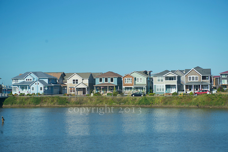 Row of houses by lake