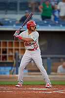 Palm Beach Cardinals designated hitter Ryan McCarvel (23) at bat during a game against the Charlotte Stone Crabs on April 20, 2018 at Charlotte Sports Park in Port Charlotte, Florida.  Charlotte defeated Palm Beach 4-3.  (Mike Janes/Four Seam Images)