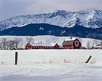Winter scene on a ranch near Joseph in the Wallowa-Whitman National Forest, OR