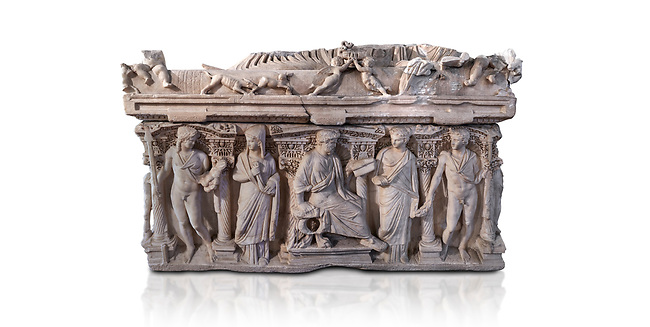 """Side panel of a Roman relief sculpted sarcophagus with kline couch lid, """"Columned Sarcophagi of Asia Minor"""" style typical of Sidamara, 3rd Century AD, Konya Archaeological Museum, Turkey. Against a white background."""