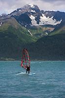 Windsurfer in Resurrection bay, Seward, Alaska