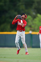 GCL Phillies second baseman Daniel Brito (21) settles under a popup during a game against the GCL Pirates on August 6, 2016 at Pirate City in Bradenton, Florida.  GCL Phillies defeated the GCL Pirates 4-1.  (Mike Janes/Four Seam Images)