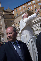 Christoph Graf the commander of the Pontifical Swiss Guard.Pope Francis during of the Palm Sunday celebration on St Peter's square at the Vatican.April 24,2018