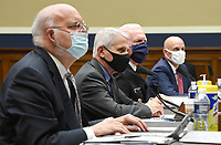 From left to right, Dr. Robert Redfield, Director, Centers for Disease Control and Prevention; Dr. AnthonyÜ Fauci, Director, National Institute for Allergy and Infectious Diseases, National Institutes of Health; ADM Brett P. Giroir, Assistant Secretary for Health U.S. Department of Health and Human Services; and Dr. Stephen M. Hahn, Commissioner, U.S. Food and Drug Administration; testify during a House Energy and Commerce Committee hearing on the Trump Administration's Response to the COVID-19 Pandemic, on Capitol Hill in Washington, DC on Tuesday, June 23, 2020.<br /> Credit: Kevin Dietsch / Pool via CNP/AdMedia
