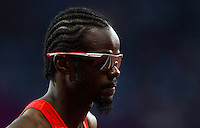 05 AUG 2012 - LONDON, GBR - Rabah Yousif (SUD) of Sudan waits for the start of his men's 400m semi final during the London 2012 Olympic Games athletics in the Olympic Stadium at the Olympic Park in Stratford, London, Great Britain (PHOTO (C) 2012 NIGEL FARROW)