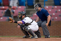 Catcher Logan Johnson #18 of the Winston-Salem Dash and home plate umpire Jeremy Crowe at Wake Forest Baseball Stadium May 8, 2009 in Winston-Salem, North Carolina. (Photo by Brian Westerholt / Four Seam Images)