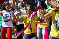 Brazil fans dance in the street
