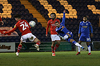Luke Gambin of Colchester United with a shot on goal during Colchester United vs Swindon Town, Sky Bet EFL League 2 Football at the JobServe Community Stadium on 28th January 2020