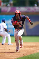 Peoria Chiefs shortstop Jose Martinez (37) running the bases during the first game of a doubleheader against the South Bend Cubs on July 25, 2016 at Four Winds Field in South Bend, Indiana.  South Bend defeated Peoria 9-8.  (Mike Janes/Four Seam Images)