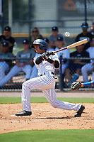GCL Yankees East shortstop Borinquen Mendez (4) flies out during a game against the GCL Blue Jays on August 2, 2018 at Yankee Complex in Tampa, Florida.  GCL Yankees East defeated GCL Blue Jays 5-4.  (Mike Janes/Four Seam Images)