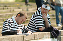 20040501    Copyright Pic: James Stewart.File Name : jspa05_stirling_albion..TWO EAST STIRLINGSHIRE FANS PREPARE THEIR PROTEST AGAINST OWNER AND CHAIRMAN ALAN MACKIN...James Stewart Photo Agency 19 Carronlea Drive, Falkirk. FK2 8DN      Vat Reg No. 607 6932 25.Office     : +44 (0)1324 570906     .Mobile  : +44 (0)7721 416997.Fax         :  +44 (0)1324 570906.E-mail  :  jim@jspa.co.uk.If you require further information then contact Jim Stewart on any of the numbers above.........