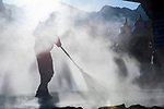 Road cleaners / sweepers in the early morning. Leh, Ladadh, India.