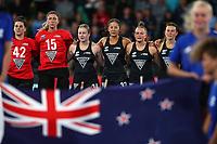New Zealand National Anthem during the Pro League Hockey match between the Blacksticks women and Argentina, Nga Punawai, Christchurch, New Zealand, Friday 28 February 2020. Photo: Simon Watts/www.bwmedia.co.nz