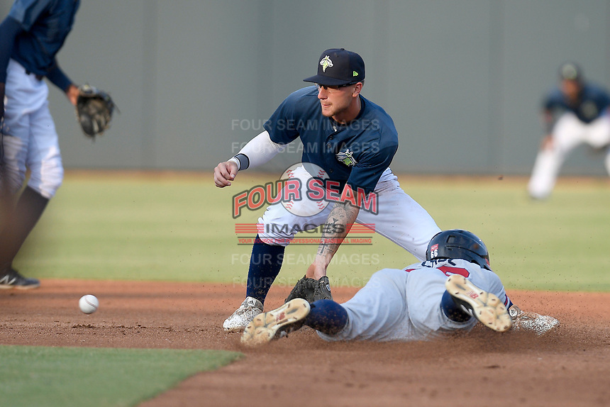 Second baseman Chandler Avant (5) of the Columbia Fireflies takes a late throw as Derian Cruz of the Rome Braves steals second base on Tuesday, June 4, 2019, at Segra Park in Columbia, South Carolina. Columbia won, 3-2. (Tom Priddy/Four Seam Images)