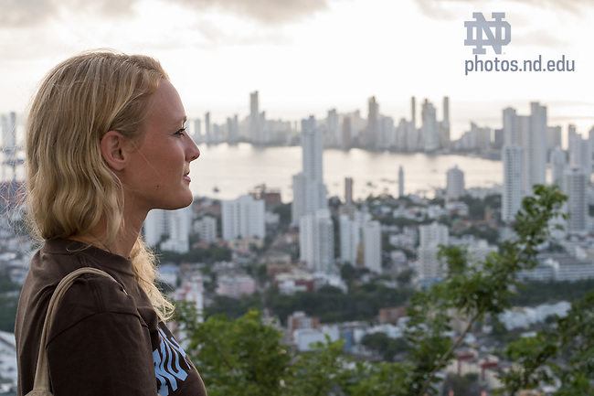 Oct. 24, 2014; Carolyn Edlebeck, Kroc Institute master degree student, doing field work in Cartagena, Colombia. (Photo by Matt Cashore/University of Notre Dame)