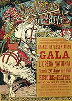 Reproduction of a poster advertising the 'Fetes de Paris', at the Opera National, Paris, 1885 (colour litho), Eugene Grasset (1841-1917).