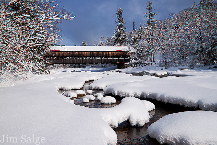 Fresh Snow at Albany Covered Bridge along the Kancamagus Highway.