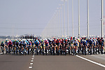 The peloton during Stage 7 of the 2021 UAE Tour running 165km from Yas Island to Abu Dhabi Breakwater, Abu Dhabi, UAE. 27th February 2021.<br /> Picture: LaPresse/Fabio Ferrari   Cyclefile<br /> <br /> All photos usage must carry mandatory copyright credit (© Cyclefile   LaPresse/Fabio Ferrari)