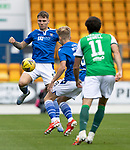 St Johnstone v Hibs……23.08.20   McDiarmid Park  SPFL<br />Jason Kerr and Ali McCann clear from Joe Newell<br />Picture by Graeme Hart.<br />Copyright Perthshire Picture Agency<br />Tel: 01738 623350  Mobile: 07990 594431