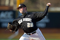 Starting pitcher Zach White #28 of the Wake Forest Demon Deacons in action against the Western Carolina Catamounts at Gene Hooks Field on February 22, 2011 in Winston-Salem, North Carolina.  Photo by Brian Westerholt / Four Seam Images