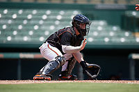 GCL Orioles catcher Harris Yett (17) fields a throw during a Gulf Coast League game against the GCL Red Sox on July 29, 2019 at Ed Smith Stadium in Sarasota, Florida.  GCL Red Sox defeated the GCL Pirates 9-1.  (Mike Janes/Four Seam Images)