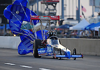 Jul, 9, 2011; Joliet, IL, USA: NHRA top fuel dragster driver T.J. Zizzo during qualifying for the Route 66 Nationals at Route 66 Raceway. Mandatory Credit: Mark J. Rebilas-