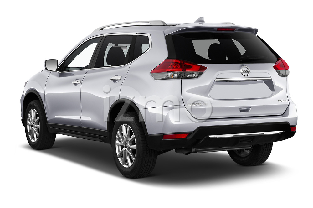 Car pictures of rear three quarter view of a 2019 Nissan Rogue SV 5 Door SUV angular rear