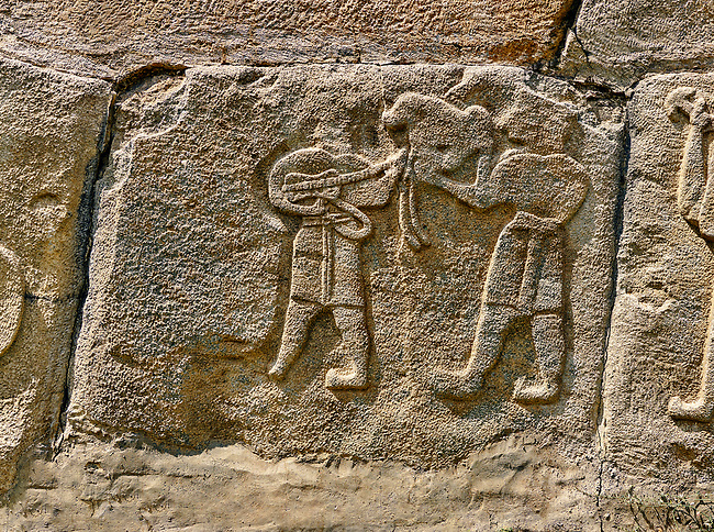 Pictures & Images Hittite relief sculpted orthostat panels of the Sphinx Gate. Panel depicts musicians. Alaca Hoyuk (Alacahoyuk) Hittite archaeological site  Alaca, Çorum Province, Turkey, Also known as Alacahüyük, Aladja-Hoyuk, Euyuk, or Evuk