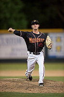 Modesto Nuts relief pitcher Michael Koval (22) delivers a pitch to the plate during a California League game against the Lake Elsinore Storm at John Thurman Field on May 11, 2018 in Modesto, California. Modesto defeated Lake Elsinore 3-1. (Zachary Lucy/Four Seam Images)