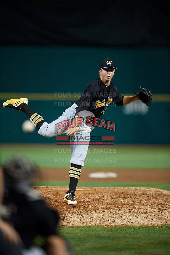 West Virginia Black Bears relief pitcher Conner Loeprich (25) delivers a pitch during a game against the State College Spikes on August 30, 2018 at Medlar Field at Lubrano Park in State College, Pennsylvania.  West Virginia defeated State College 5-3.  (Mike Janes/Four Seam Images)