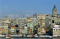 The Galata Tower rising above the city along the Bosphorus strait, Istanbul, Turkey.